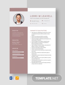 Certified Rehabilitation Counselor Resume Template