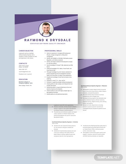 Certified Software Quality Engineer Resume  Download