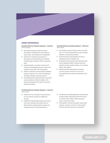 Certified Software Quality Engineer Resume  Template