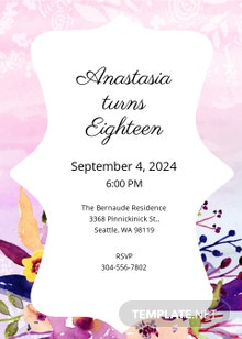 Free Pastel Debut Invitation Card Template