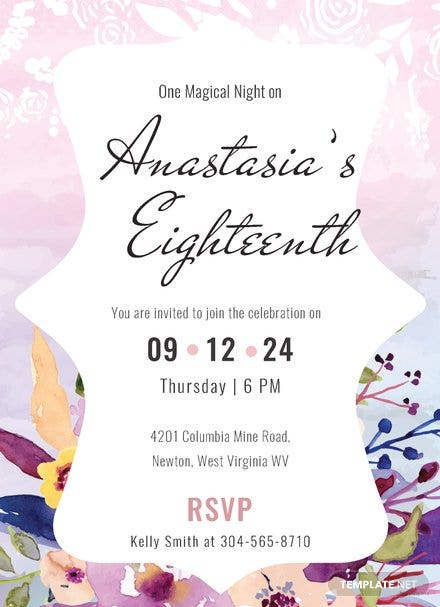 Pastel Debut Invitation Card Template