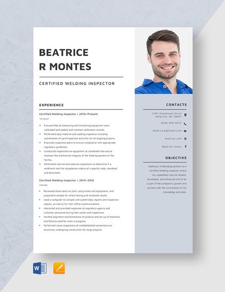 Certified Welding Inspector Resume Template