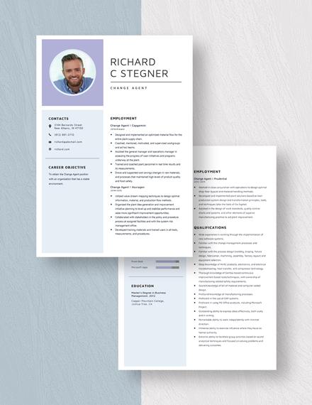 Change Agent Resume  Download