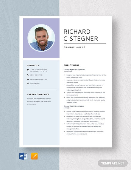 Change Agent Resume Template