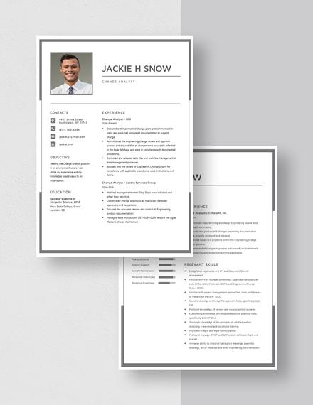 Change Analyst Resume  Download