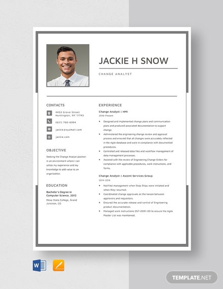 Change Analyst Resume Template