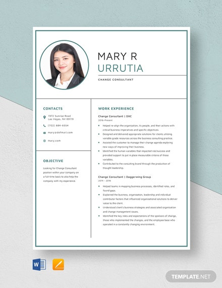 Change Consultant Resume Template
