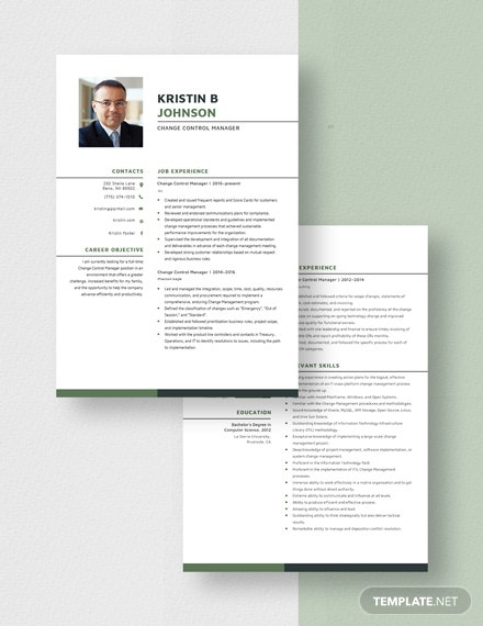 Change Control Manager Resume  Download