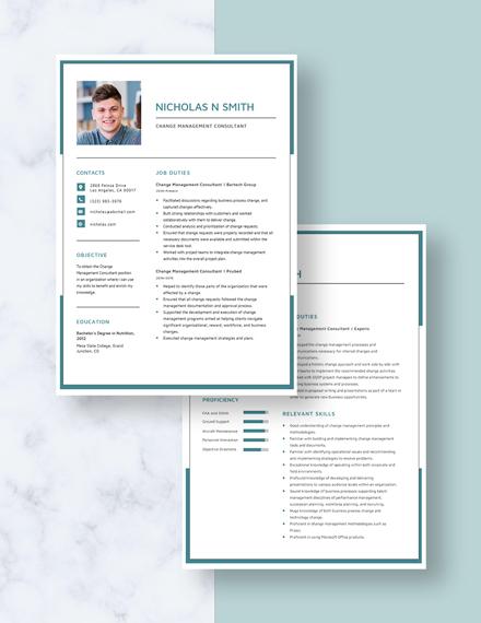 Change Management Consultant Resume Download