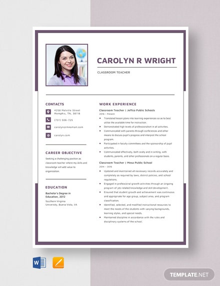 Classroom Teacher Resume Template