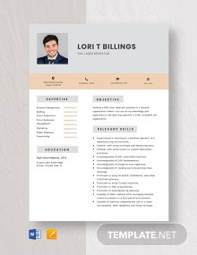 CNC Laser Operator Resume Template