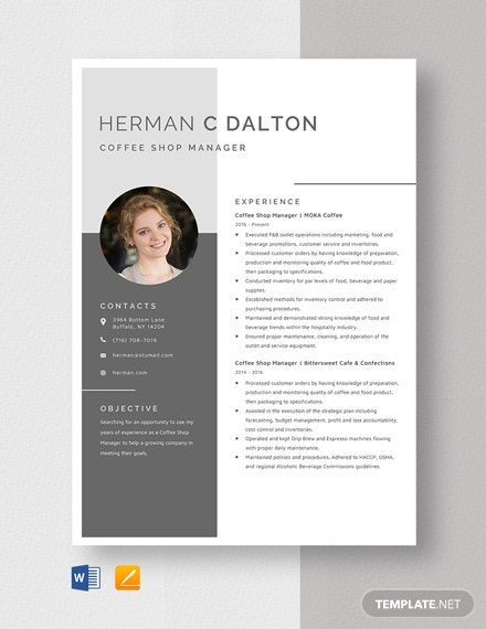 Coffee Shop Manager Resume Template Word Apple Pages