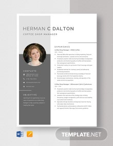 Coffee Shop Manager Resume Template