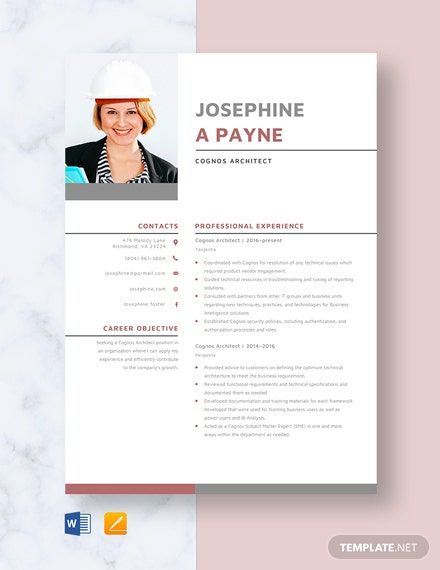 Cognos Architect Resume Template