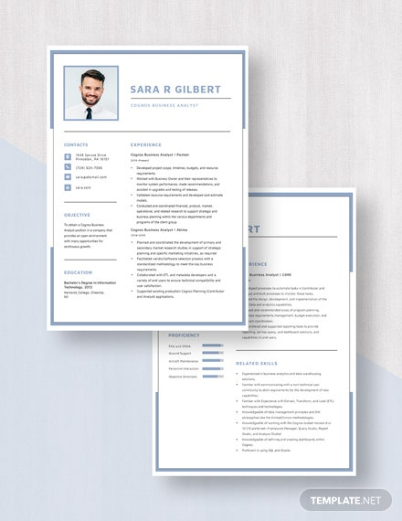 Cognos Business Analyst Resume Download