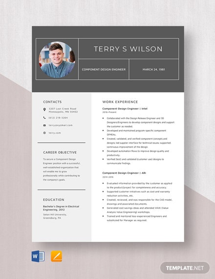 Component Design Engineer Resume Template