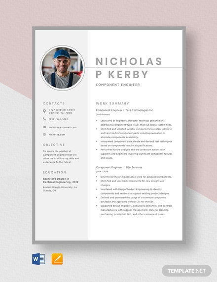 Component Engineer Resume Template