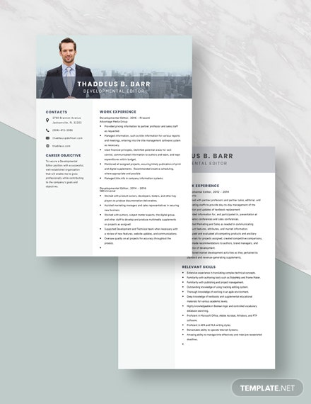 Developmental Editor Resume Download