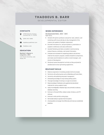 Developmental Editor Resume Template