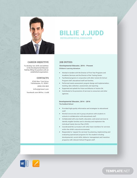 Developmental Educator Resume Template