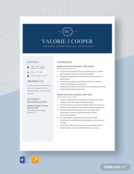 Disease Intervention Specialist Resume Template