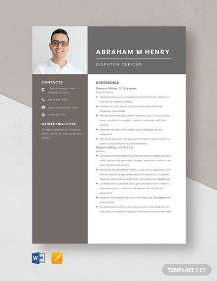 Dispatch Officer Resume Template