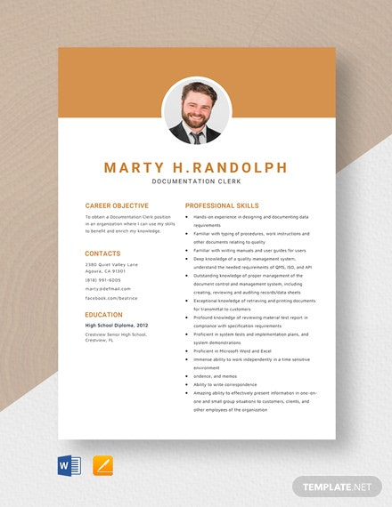 Documentation Clerk Resume Template
