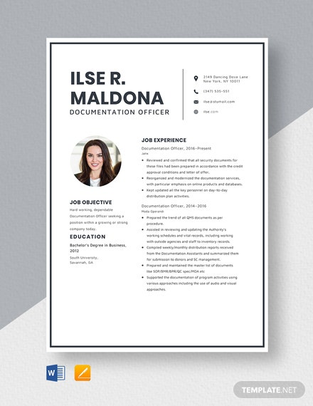 Documentation Officer Resume Template
