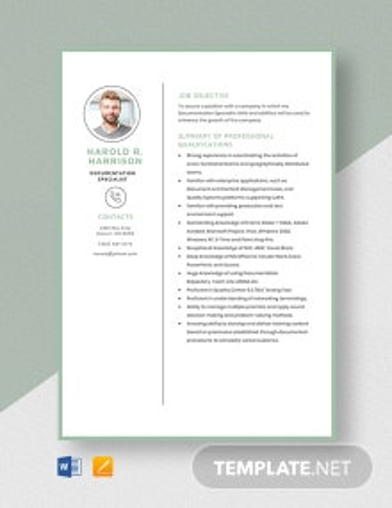 Documentation Specialist Resume Template