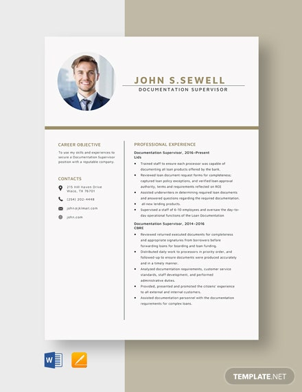 Documentation Supervisor Resume Template