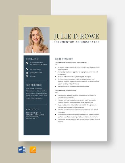Documentum Administrator Resume Template
