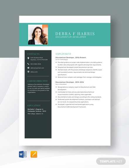 Documentum Developer Resume Template