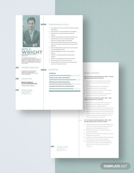 Environmental Health Specialist Resume Download