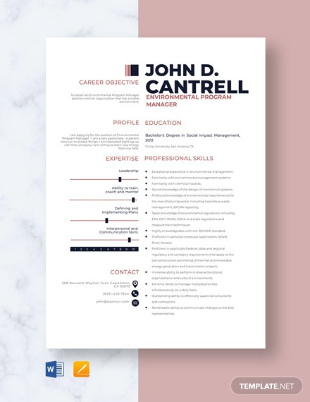 Environmental Program Manager Resume Template