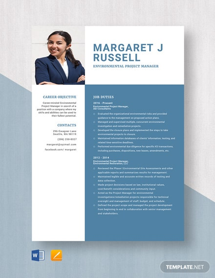 Environmental Project Manager Resume Template
