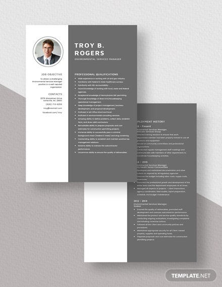 Environmental Services Manager Resume Download