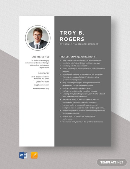 Environmental Services Manager Resume