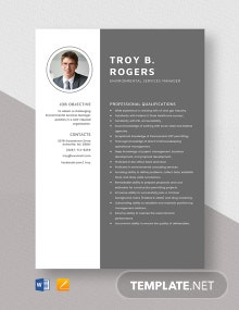 Environmental Services Manager Resume Template