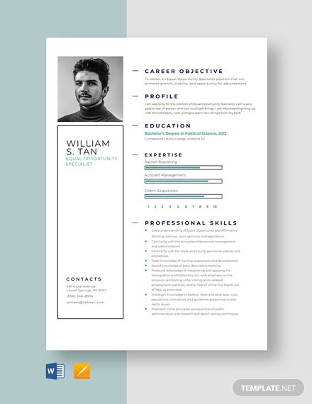 Equal Opportunity Specialist Resume Template