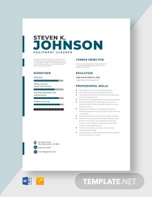 Equipment Cleaner Resume Template
