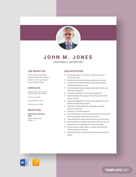 Equipment Operator Resume Template