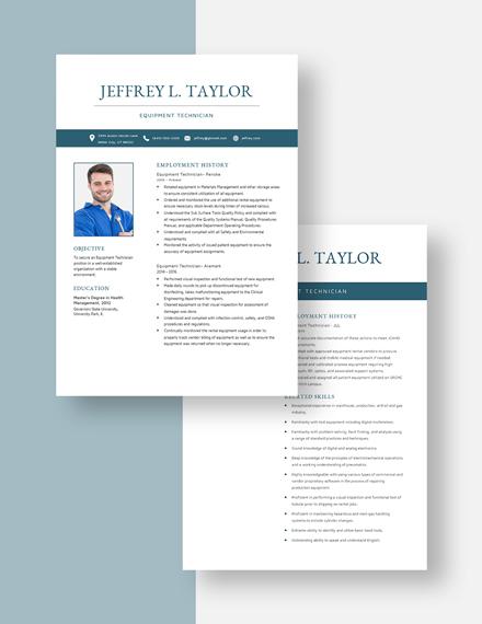 Equipment Technician Resume Download