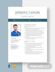 Equipment Technician Resume Template