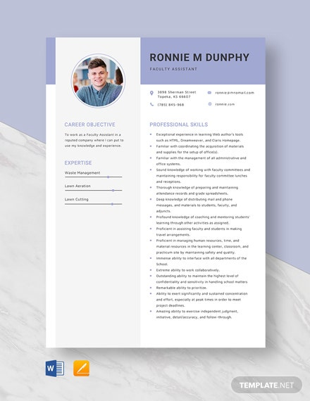 Faculty Assistant Resume Template
