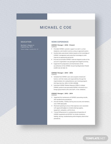 COMSEC Manager Resume Template: Download 3832+ Resumes in ...