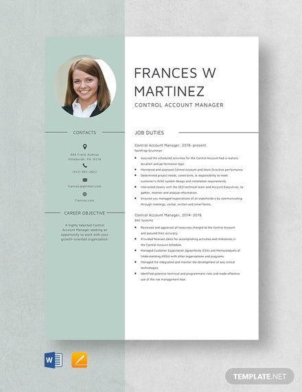 Control Account Manager Resume Template
