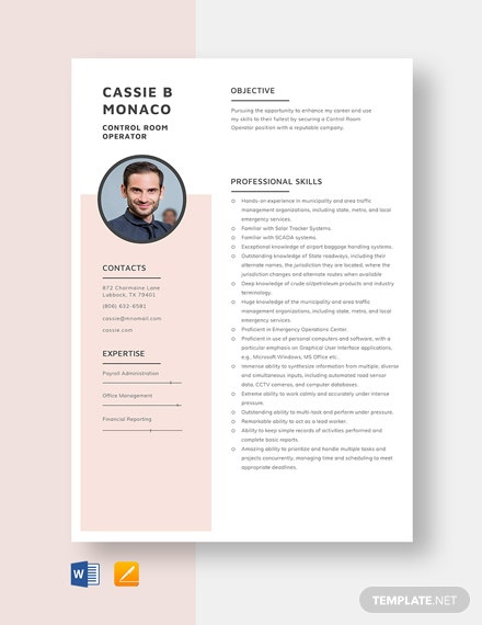 Control Room Operator Resume Template