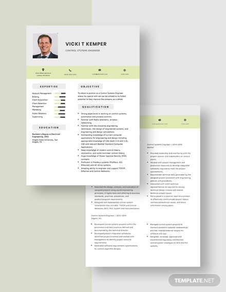 Control Systems Engineer Resume Download