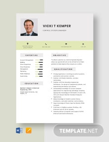 Control Systems Engineer Resume Template