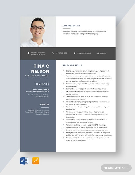 Controls Technician Resume Template